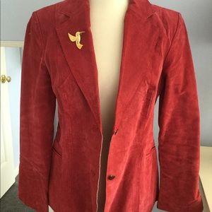 Red leather blazer